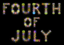 Fourth of July colorful sparkling fireworks horizontal black sky. Fourth of July written with Colorful Sparkling Fireworks over black sky / background royalty free illustration