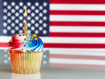 Fourth of July Cupcake with Light Candle Stock Image