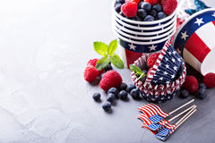 Fourth of July cups and cupcake liners. Cooking and making food for the Fourth of July, cups and cupcake liners royalty free stock photos