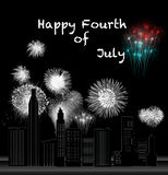 Fourth of July. A dark city illuminated by fireworks for Independence Day Stock Image
