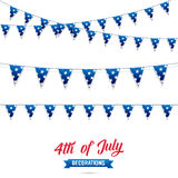 Fourth of July. Decoration set of USA flag stars garlands. 4th of July vector illustration. Royalty Free Stock Image