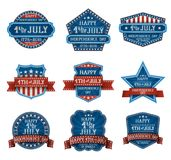 Fourth of July Design Elements. Fourth of July typographic design elements, american independence day greetings, EPS 10 contains transparency Royalty Free Stock Photography