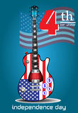 Fourth of July electric guitar. Abstract colorful background with an electric guitar with the american flag and the text fourth of July written above the guitar Stock Image