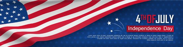 Fourth of July felicitation greeting card. Independence day celebration banner. USA country national event. Waving american flag on blue background. United stock illustration