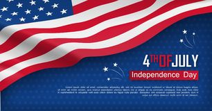 Fourth of July felicitation greeting card. Independence day celebration banner. USA country national event. Waving american flag on blue background. United vector illustration
