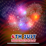 Fourth of July with firework Background. Vector Stock Photos