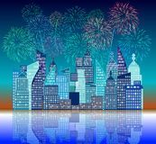 Fourth of July with firework Background Royalty Free Stock Photo