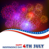 Fourth of July with firework Background Stock Image