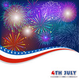 Fourth of July with firework Background Royalty Free Stock Image