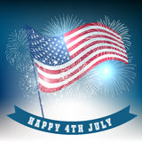 Fourth of July with firework Background. Vector Stock Photo