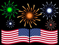 Fourth of July Fireworks Background. With the USA Flag stock illustration
