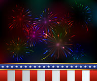 Fourth of July Fireworks Background Illustration Stock Images