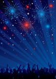 Fourth of july fireworks with crowd. Vector illustration of fourth of july fireworks with crowd. Objects are layered, each silhouette is separated so you can Stock Image