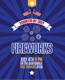 Fourth of july fireworks poster background. Stock Photography