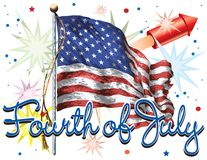 Fourth of July with Flag Stock Photography