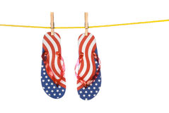 Fourth of July flip flops Stock Photo