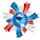 Fourth of july globe with 3d stars Stock Image