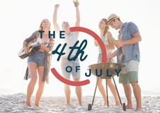 Fourth of July graphic against millennials at beach party stock photos