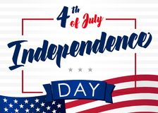Fourth of July greeting card for USA. Happy Independence day United State of America, 4th of july. Banner, poster, template vector illustration stock illustration