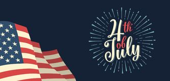 Fourth of July hand lettering inscription with firework. Independence day. 4th of July hand lettering inscription with firework and american flag. Vintage hand Stock Images