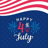 Fourth of July hand written ink lettering. Retro poster template. United States of America Independence day banner, greeting card, brochure design. Vector Royalty Free Stock Photography