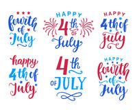 Fourth of July hand written ink lettering set. United States of America Independence day typographic design for poster, brochure, greeting card template vector illustration