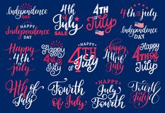 Fourth of July, handwritten phrases set for greeting card,banner etc.Vector calligraphy collection for Independence Day. Fourth of July, handwritten phrases set stock illustration