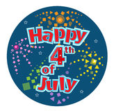 Fourth of July. Happy Fourth of July festive text with stylized fireworks in a blue circular background. Eps10 Royalty Free Stock Images