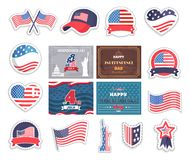 Fourth of July Happy Independence Day in America. USA national holiday vector illustration, different patriotic symbols collection, american flags set royalty free illustration