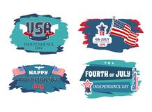 Fourth of July Happy Independence Day Banners. Vector illustration USA national holiday, four stickers with flags and stars, Statue Liberty monument vector illustration