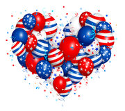 Fourth of july heart balloons. Vector illustration of fourth of july heart balloons. Used transparency and blending mode. Objects are layered Royalty Free Stock Image