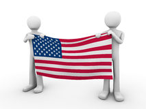 Fourth of July: holding US flag Royalty Free Stock Photos