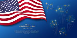 Fourth of July holiday banner on navy blue background with fireworks. American Independence Day Party poster, flyer, greeting card stock illustration