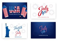 Fourth of July. Holiday banners for USA Independence Day. Set of modern cards, invitations, web banners for July 4th.  Stock Images