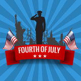 Fourth of July. Independence day background with usa flag. Fourth of July. Independence day background with red ribbon and waving USA flag. Vector illustration royalty free illustration