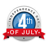 Fourth of July - Independence Day badge with ribbon Stock Image