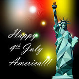 Fourth of july independence day card, with statue of liberty and fireworks. Digital vector image Stock Photo