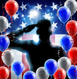 Fourth July Independence Day Concept. Patriotic soldier or veteran saluting in front of an American flag veterans day background with red white and blue balloons stock illustration
