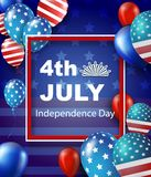 Fourth of July Independence Day greeting card. American patriotic illustration. Dark blue background and 3d balloons with symbols.Vector illustration Stock Images