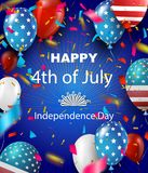 Fourth of July Independence Day greeting card. American patriotic illustration. Dark blue background and 3d balloons with symbols.Vector illustration Royalty Free Stock Photography