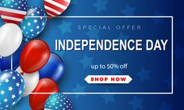 Fourth of July Independence Day greeting card. American patriotic illustration. Dark blue background and 3d balloons with symbols.Vector illustration Royalty Free Stock Photo