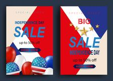 Fourth of July Independence Day greeting card. American patriotic illustration. Dark blue background and 3d balloons with symbols.Vector illustration Stock Photo