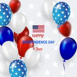 Fourth of July Independence Day greeting card. American patriotic illustration. Light coloured background and 3d balloons with symbols.Vector illustration Stock Photography