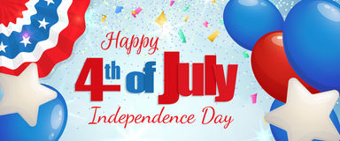 Fourth of July, Independence Day horizontal banner. Happy 4th of July, Independence Day greeting card horizontal banner with baloons and paper patriotic bunting Stock Images