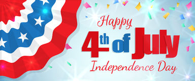 Fourth of July, Independence Day horizontal banner. Happy 4th of July, Independence Day greeting card horizontal banner with a cracker and confetti, paper Stock Images