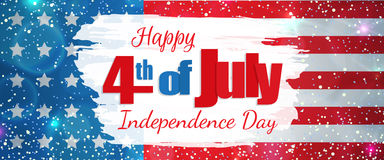 Fourth of July, Independence Day horizontal banner. Happy 4th of July, Independence Day greeting card horizontal banner. Happy July Fourth. Vector Stock Image