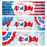 Fourth of July, Independence Day horizontal banner. Happy 4th of July, Independence Day, set of greeting cards horizontal banners. Happy July Fourth. Vector Royalty Free Stock Photo