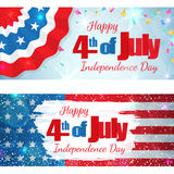 Fourth of July, Independence Day horizontal banner. Happy 4th of July, Independence Day, set of greeting cards horizontal banners. Happy July Fourth. Vector Royalty Free Stock Image
