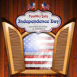 Fourth of July - Independence Day. A open window on wooden wall with US grunge flag interior and label with phrase: Fourth of July Independence Day - United Stock Images