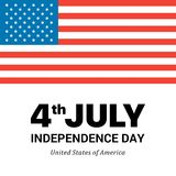 Big American Flag on white background with Independence Day words. Flat vector patriotic 4th of July illustration card. Fourth of July the Independence Day vector illustration